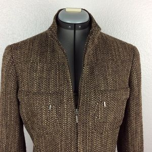 Lafayette 148 NY Wool Tweed Full Zip Blazer